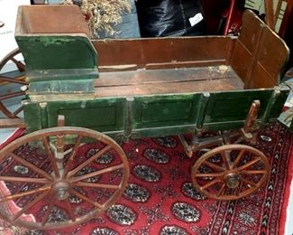antique wagon in green paint