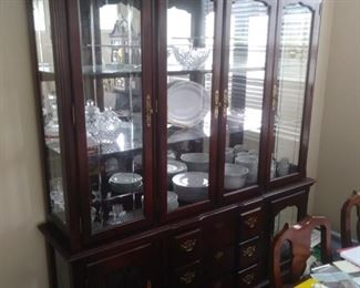 Cherry hutch with glass doors