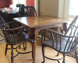 Austin Club antique game table and 4 chairs (4th chair not shown) - see how there is a place for your drink on each table leg? Very neat. Tabletop needs some TLC.