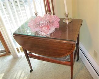 Vintage Mid Century Wood Drop Leaf Table Bar Cart