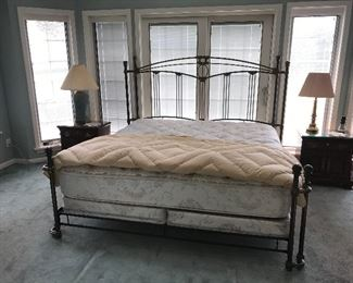 King size bed with metal decorative bed frame