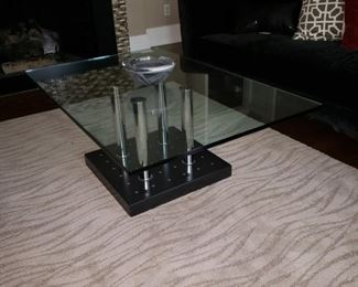 Wonderful glass top coffee table on chrome  base