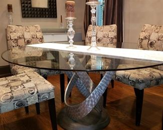 Chrome base dining table,  sadly the glass top on this table has a break in it but the base is wonderful