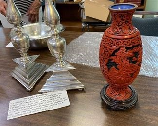 Silver candlesticks from United States Senate Oriental Japanese carved vase on stand.