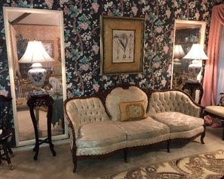 Beautiful antique sofa & Asian fern stands.