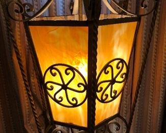 Heavy Iron & Glass Swag Lamp 1 of 2
