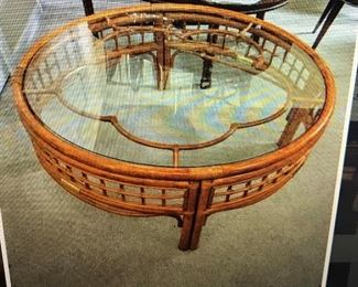 Rattan Bo Ho Coffee Table, glass top , unique design, excellent shape