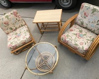 Mid Century Rattan Chairs and tables, all sold separately  Pretzel Chair with cushions , 3 band, 1950's , pristine condition,    Armless Chair matches the pretzel chair and can be extra section for a sofa set $ 250.00
