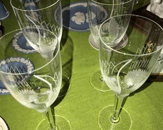 LALIQUE CRYSTAL CHAMPAGNE FLUTES