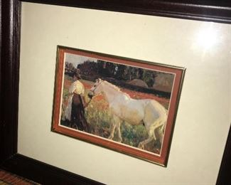 WHITE HORSE PAINTING WITH WOMAN