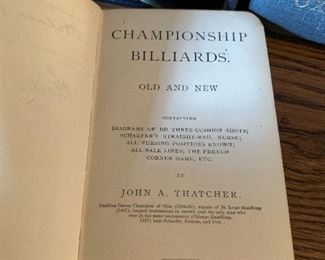 CHAMPIONSHIP BILLIARDS OLD AND NEW BY JOHN A. THATCHER