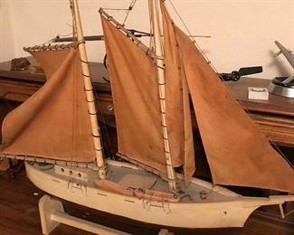heavy wood vintage ship w/masts