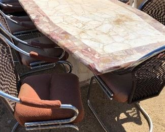 Marble table with 8 chairs!  Nice for the patio!