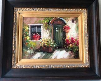 painting of quaint Italian courtyard -- I miss Naples!