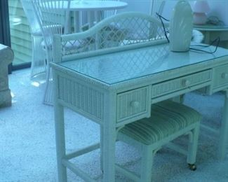 WICKER DESK OR DRESSING TABLE AND BENCH, VERY NICE CONDITION