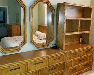 Lea furniture, dresser, chest, bookcase, mirrors
