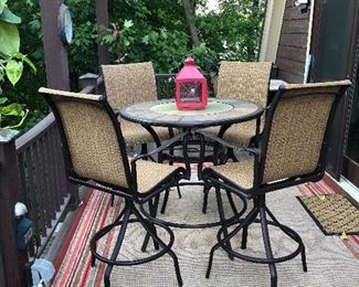 Patio pub set (rug not for sale)