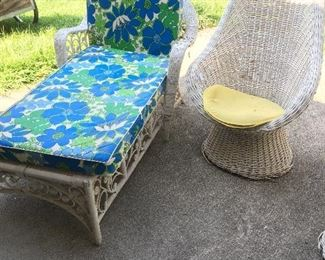 Wicker high back chair and lounge with vinyl cushions, in great condition