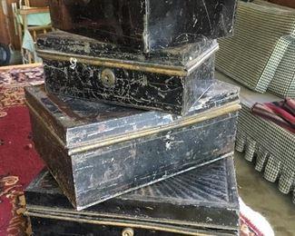 Vintage metal storage boxes