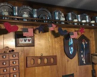 Pewter dining set, pewter with ceramic lined mugs, and pewter beer glasses. Wooden spice box, personal mirror, Americana quilted garland, quilted hearts hanging.