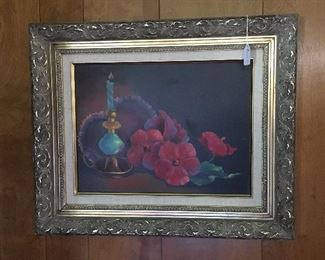 Original painting on canvas of hibiscus and a lamp