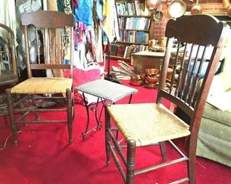 Nice, vintage woven seat chairs, vinyl covered stool.