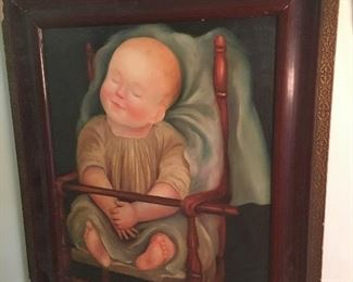 Original painting on canvas by Pat Clarke of a baby doll in a high chair