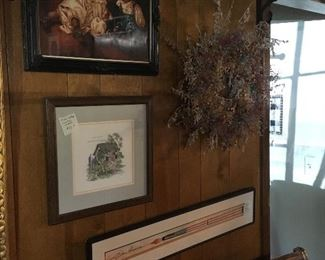 Signed prints, handmade cross stitch, dry flower wreaths.