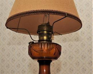 "ALADDIN ""Lincoln Drape""  Amber  OIL LAMP FONT ALADDIN  brass hardware"