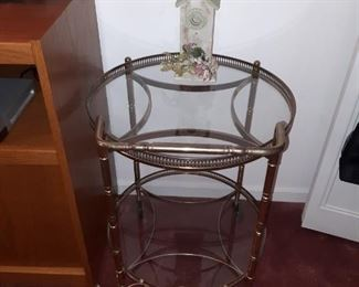Metal and Glass Two-Tiered End Table