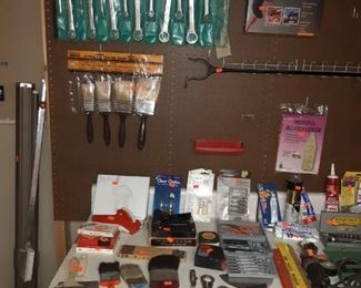 Projector Screen, Paint Brushes, Wrenches, Pliers, Clamps, Caulk, Rulers and more