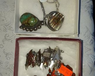 Vintage enamel Siam Sterling Jewelry set