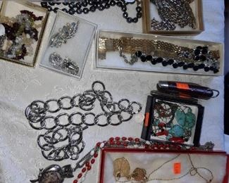 Costume jewelry, some Native American Jewelry and a New Old Stock cross pen set