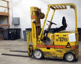 Allis-Chalmers Electric Forklift Model #ACE35CR With 3000 Lb. Capacity EE-Rated, Powers On And Runs