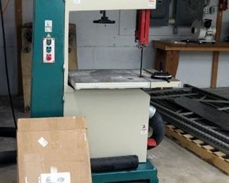 Grizzly Industrial Bandsaw Model #G0568 Includes Instruction Manual, Saw Keys, Rolling Platform, Additional Saw Blades And Belts, 220 Volt, Powers On