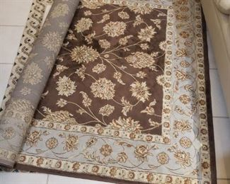 Brown and light blue area rug