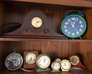 Many vintage clocks