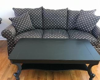 Couch and black coffee table
