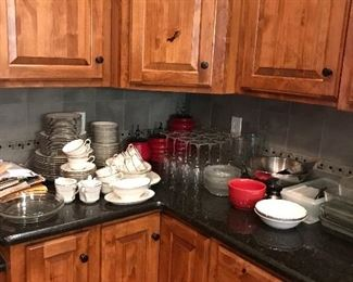 Kitchen items including canister sets, crystal and china