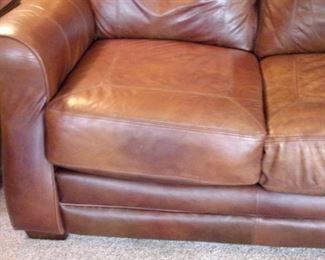 Lane distressed leather sofa.