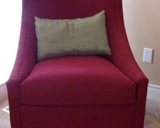 Pair Rowe red accent chairs