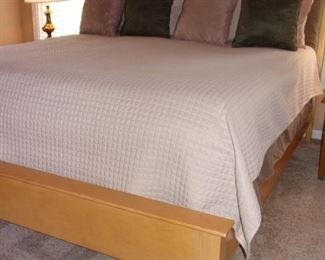 King size Serta pillow top mattress and box springs, Blonde contemporary kingsize head/footboard and side rails with matching dresser with 10 drawers/2 doors!
