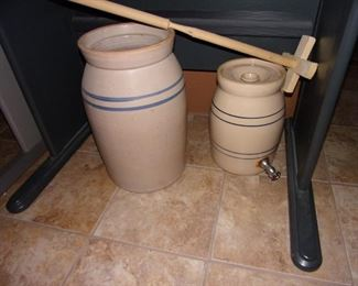 Marshall 5 gal butter churn and Storie water crock.