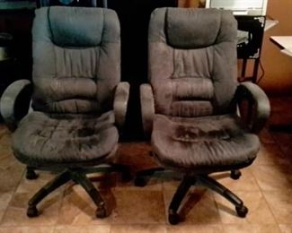 Two velvety soft office chairs in great shape.