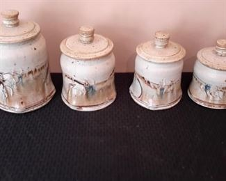 Stoneware canisters.