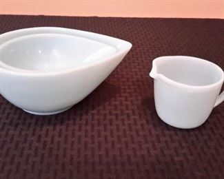 Vintage Fire King teardrop azurite nesting bowls and an azurite creamer.