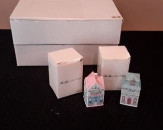 Lenox Spice Village. 23 cottage shaped spice jars, in box except for 5 of them. 1989.