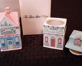 Lenox Spice Village. 17 cottage shaped spice jars, in box. 1989.