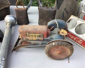 Cowbells tin toy tractor