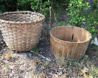 Cotton basket primitive wooden tub wooden handles